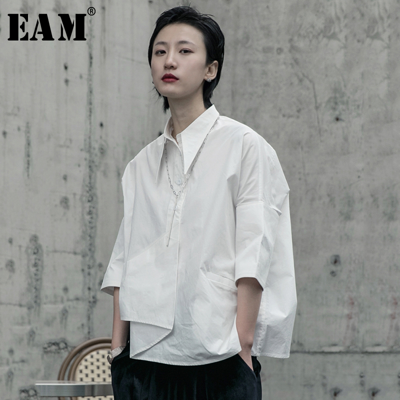 [EAM] Women White Asymmetrical Big Size Blouse New Lapel Long Sleeve Loose Fit Shirt Fashion Tide Spring Autumn 2020 1R590