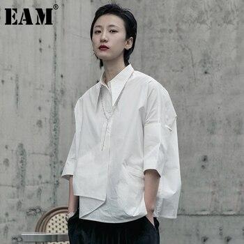 [EAM] Women White Asymmetrical Big Size Blouse New Lapel Long Sleeve Loose Fit Shirt Fashion Tide Spring Autumn 2020 1R590