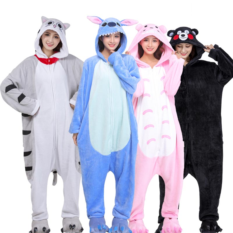 2019 New Zipper Onesie Animal Kigurumi Unisex Women Girl Pajamas Stitch Totoro Cat Bear Sleepwear Christmas Overalls Adult Suit