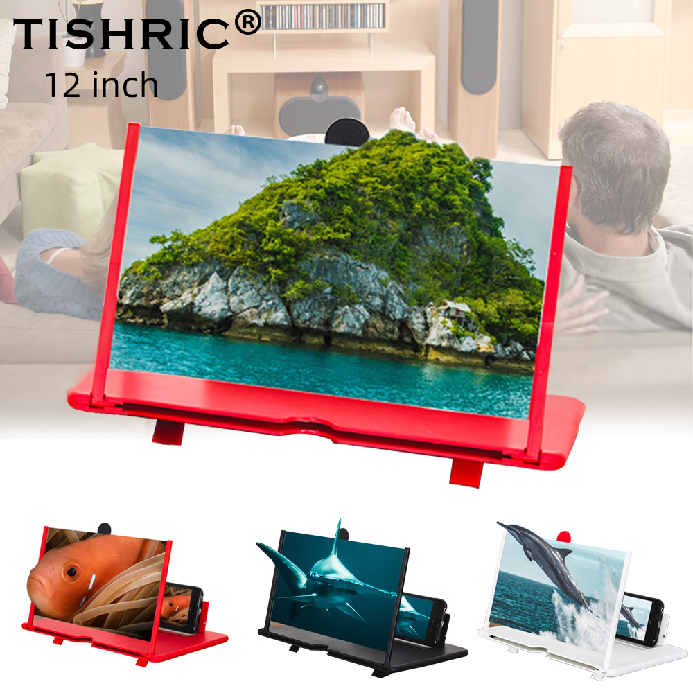 TISHRIC 12 Inch 3D Universial Moile Holder Cell Phone Screen Maginfer Tablet Desktop Holder Stand For Xiaomi/iphone Amplifer HD