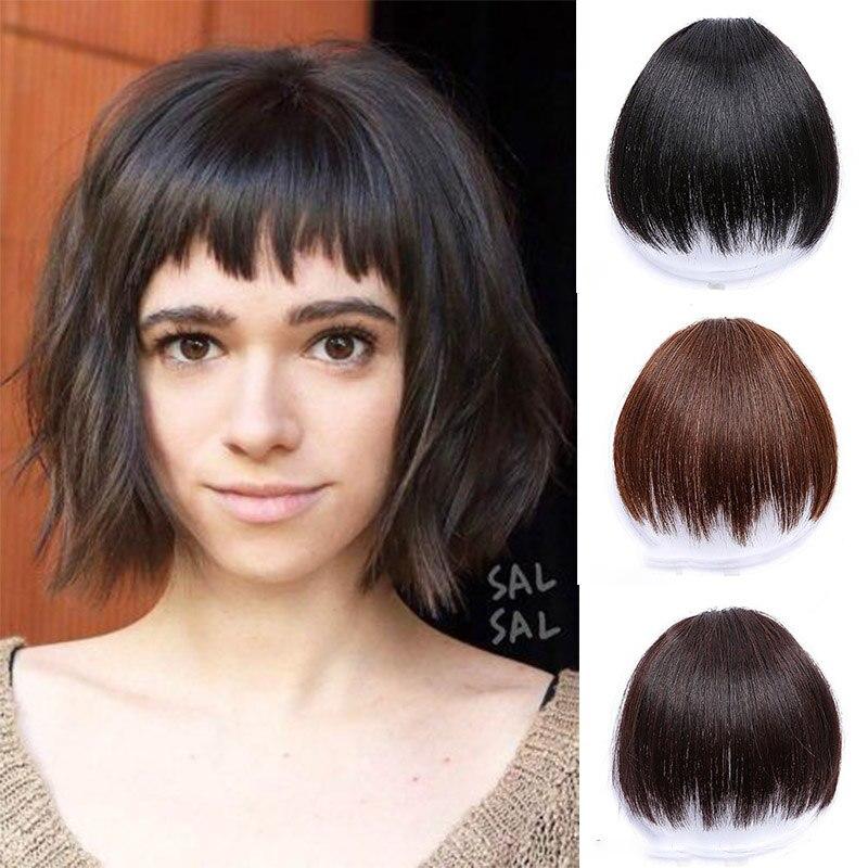 XUANGUANG Straight Hair High Temperature Synthetic Bangs Lengthened Irregular Bangs Natural Seamless Bangs Hairpin
