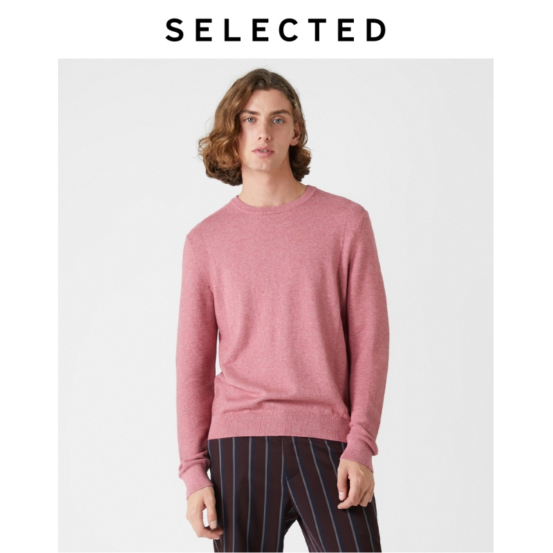 SELECTED Men's new cotton blend long sleeve round neck sweater S |419324519