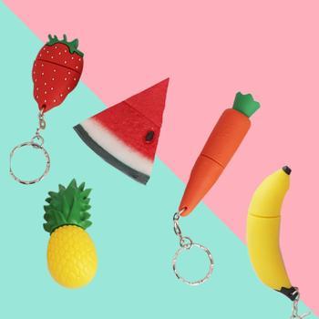 Instagram cute cartoon fruit usb flash drive mini pocket size 32G 64G 128G pendrive lovely light gift pen drive free OTG adapter
