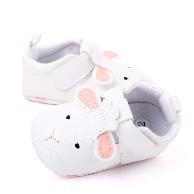 Autumn Newborn Baby Boys Girls PU Shoes Cute Cartoon Animal Printed Solid Color Comfortable With Ear Anti-Slip Soft Soled Shoes