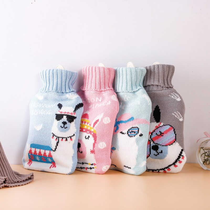 1000ml קוריאני סרוג קריקטורה סגנון גדול קיבולת מים חמים בקבוק יד Suppport מותאם אישית הדפסת 1pc
