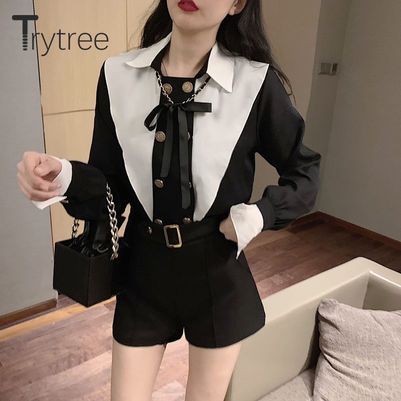 Trytree 2020 Spring Two Piece Set Casual Turn-down Collar Patchwork Button Blouse + Short Short Belt Fashion Set 2 Piece Set