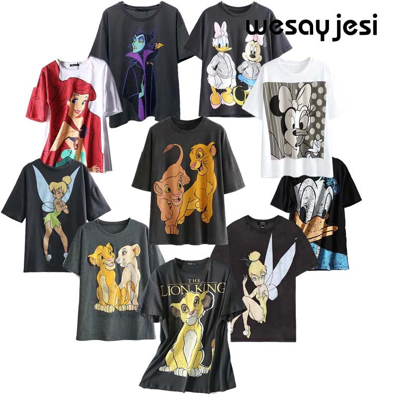 2020 Summer Women T-shirt  Harajuku Streetwear Shabby Cartoon Lion King Print Cotton O-neck Short Sleeve Female Tops Plus Size