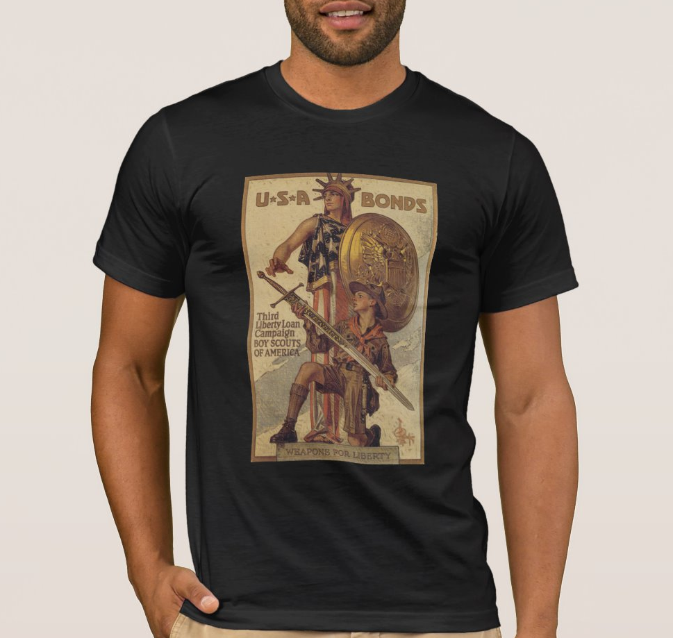 Buy Liberty Bonds WWI 1918 Men's T Shirt Columbia / Lady Liberty and USA Boy Scout image