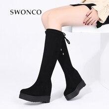 SWONCO חורף מגפי נשים נעלי קטיפה חמה שלג מגפי נשים 2019 חדש נעלי טריז הברך גבוהה מגפי Femlae Snowboots bottine