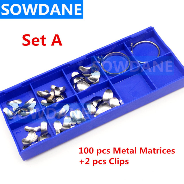 100pcs/set Dental Sectional Contoured Matrices Matrix Ring Clip Dental Filling Wedge Wedges Dental Ortho Materials