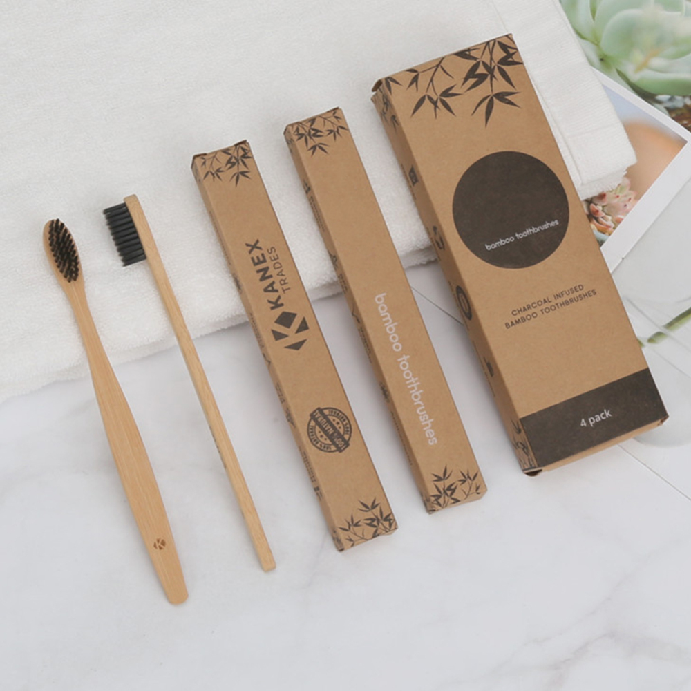 4pcs Soft-bristles Pure Natural Bamboo Charcoal Toothbrush Oral Care Health Tool Family Travelling Teeth Brushes Eco-friendly