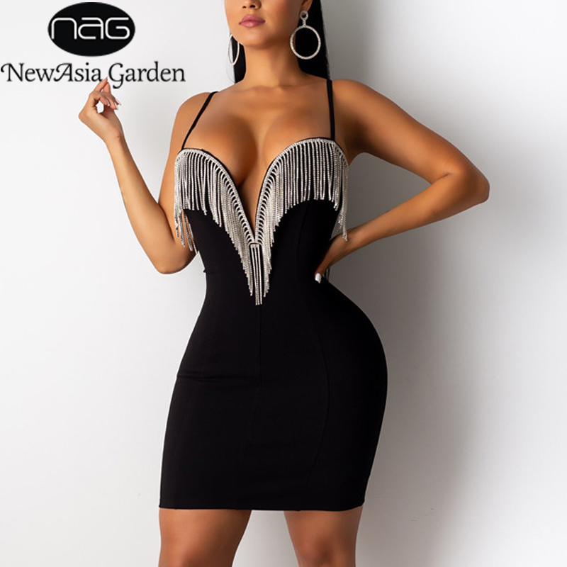 NewAsia Tassel Sequin Dress Women Diamond Fringe Deep V-neck Underwired Sexy Dresses Woman Party Night Club Bodyocn Dress White