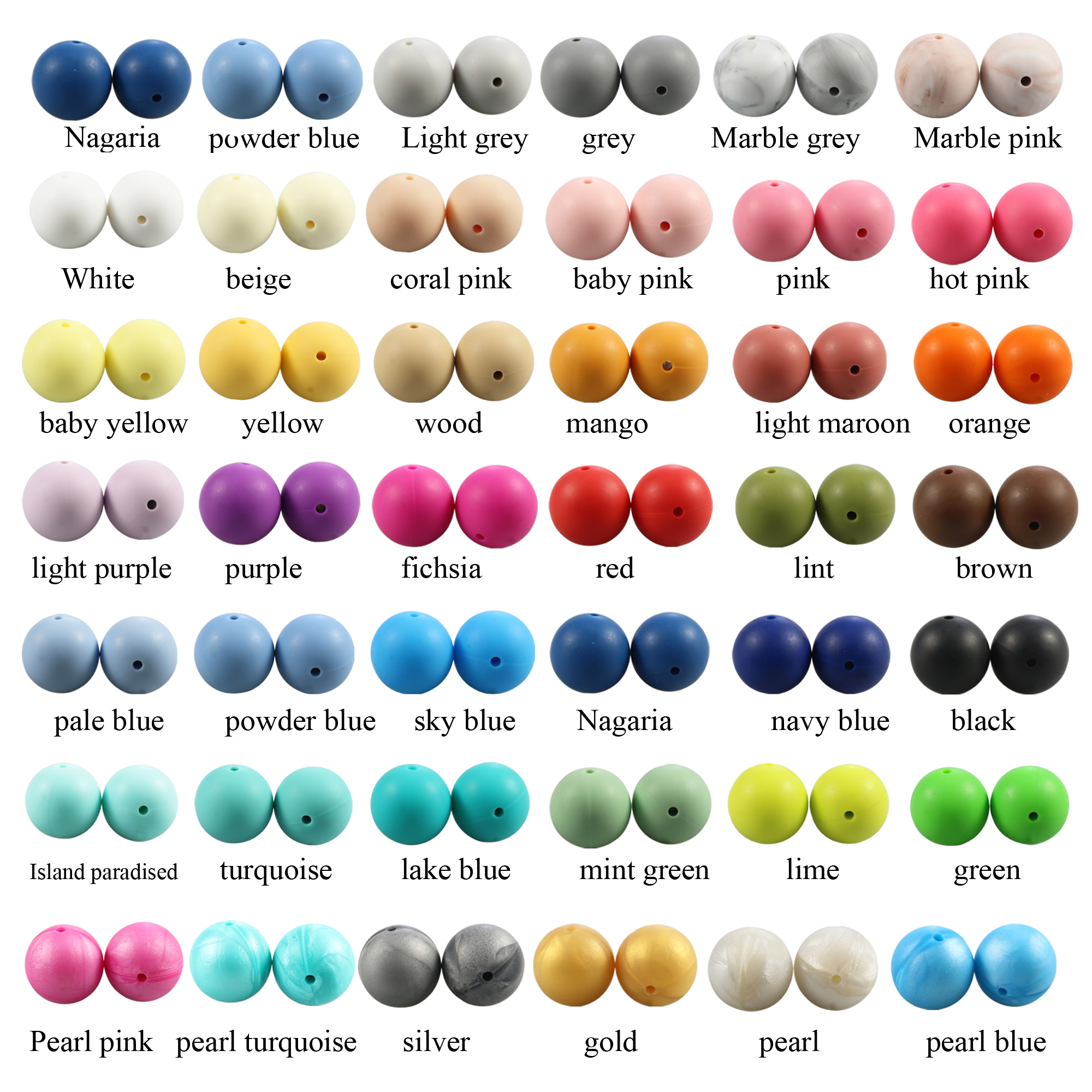 10MM Round Bead 50PCS/lot Silicone Teething Necklace Beads 40 Colors Food Grade Silicone Loose Bead For Baby Chew BPA Free