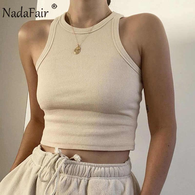Nadafair 캐주얼 립 탱크 탑 여성 화이트 오프 숄더 니트 탑스 스트레치 솔리드 2020 Summer Sexy Crop Top