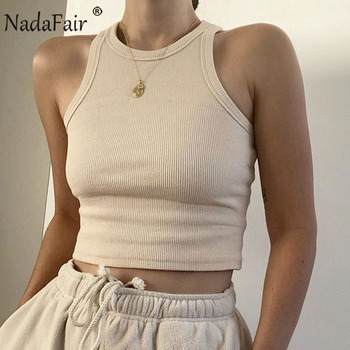 Nadafair Casual Knit Basic Tank Top Women Ribbed Stretchy Solid Sport Summer Crop 2020 Off Shoulder Sexy T Shirt - discount item  45% OFF Tops & Tees