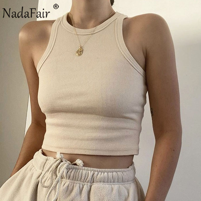 Nadafair Casual Ribbed Women Tank Top White Off Shoulder Knitted Tops Stretch Solid 2020 Sexy Summer Crop Top Women Outfit