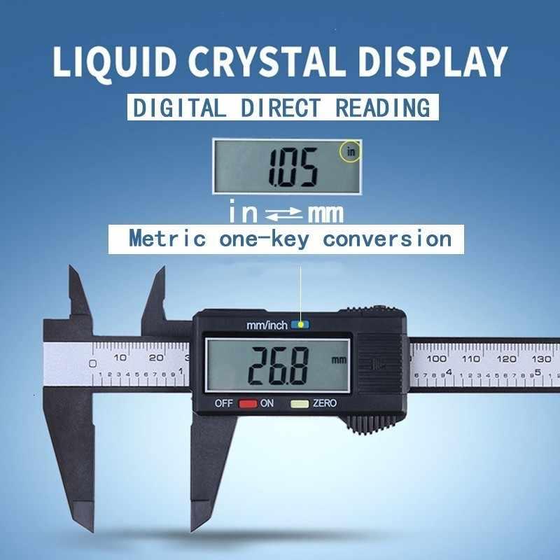 """150mm 6 """"noir étrier électronique numérique pachomètre en Fiber de carbone numérique Vernier jauge micromètre outil de mesure"""