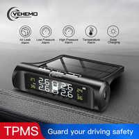 VEHEMO Solar coche TPMS presión del neumático externo Sensor Digital Display Sistema de control de presión de neumáticos sistemas de alarma de seguridad de coche