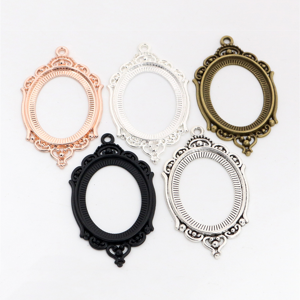 New Fashion  5pcs 30x40mm Inner Size 5 Colors Pierced Style Cabochon Base Setting Charms Pendant