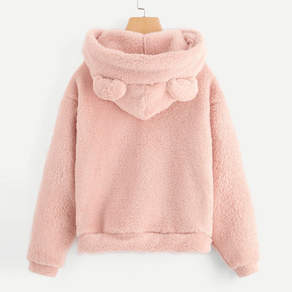Flauschigen hoodies Frauen kawaii Sweatshirt nette bär ohr kappe Herbst Winter Warme pullover Lange Hülse outwear Fleece mantel moletom neue