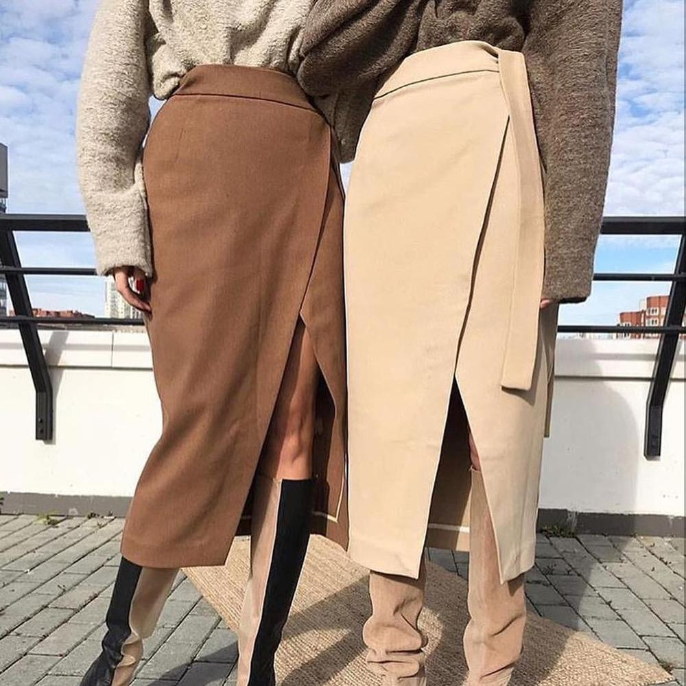 Sexy Chic Skirts Women Winter Autumn Thicken Solid Color High Waist Slit Long Wrap Skirt Hip Split Casual Office Lady
