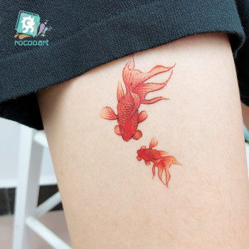 цены Rocooart RC-69 Colored 3D Red Fish New Fashion Waterproof Temporary Tattoo Sticker Tatoo Women and Kid Flash Fake Tattoo