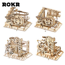 ROKR Marble Run Maze Balls Track Toys Wooden Model Building Kits For Children Adults(China)