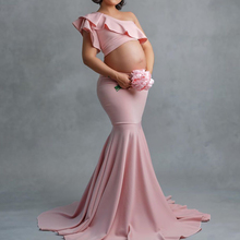 Maternity Mermaid Tail Skirt Set for Photography One Shoulder Ruffles Crop Top Pregnancy Photography Props Trumpet Skirt Set