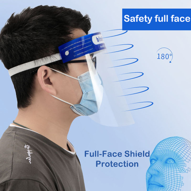 Transparent Protective Face Shield Clear Flip-up Reusable Full Facial Protetor Mask Anti-fog Dustproof Goggle Masks for Outdoor 5