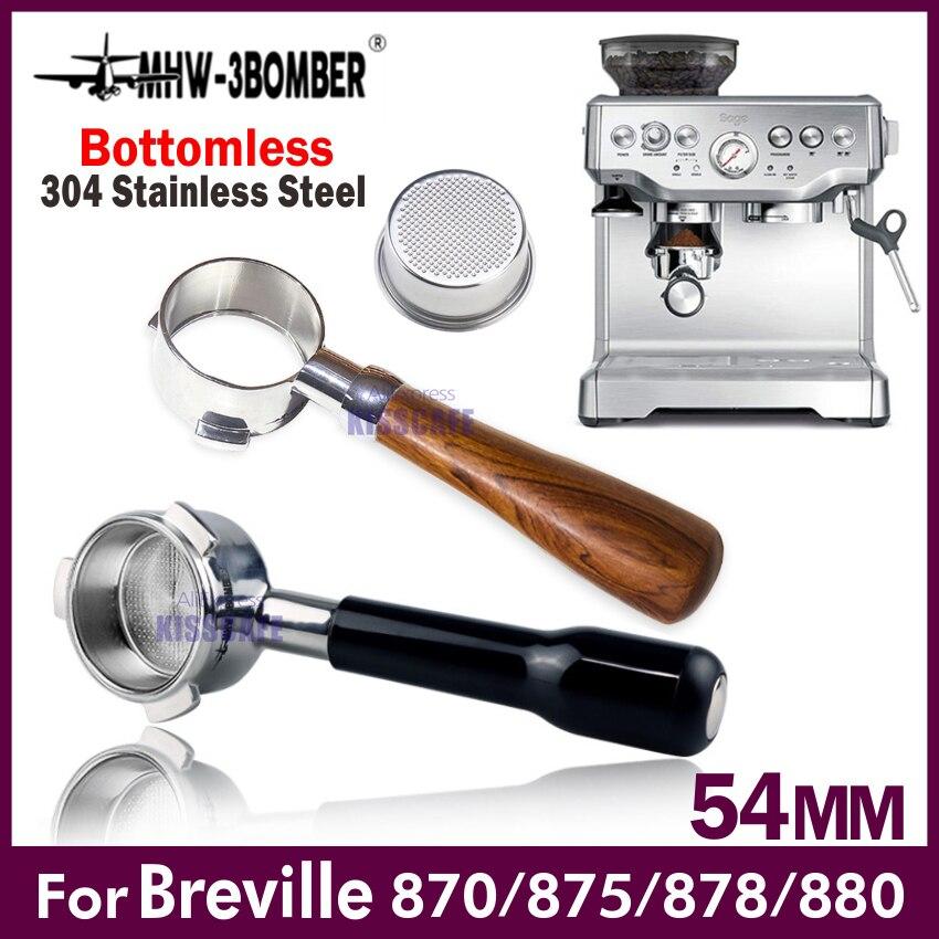 54Mm Koffie Bodemloze Filterhouder Voor Breville 870/878/880 Filter Mand Rvs Vervanging Espresso Machine Accessoire