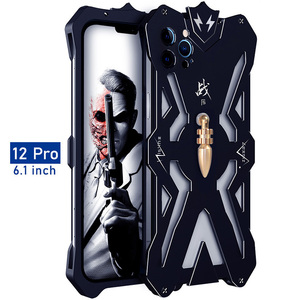 Image 5 - Luxury Armor Metal Aluminum CNC technology manufacturing Cover For iphone 12 PRO MAX mini case Bullet Bracket Phone shell