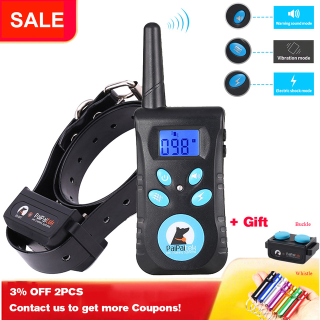 Paipaitek Dog Training Collar with Remote  2-in-1 Automatic Bark Stop Shock Collar 55 yd Range Rechargeable Waterproof  Receiver 2