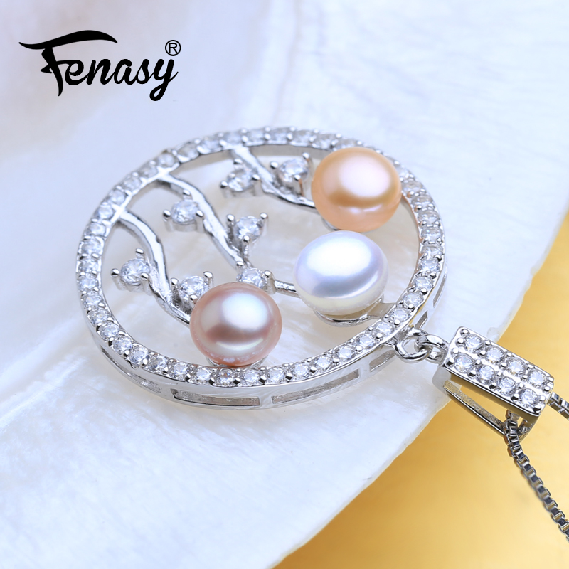 FENASY 925 Sterling Silver Bohemian Necklace Chain Necklace Pearl Jewelry Multi Color Three Beads Pendant Necklace For Women