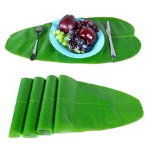 1/3pcs Dining Table Artificial Palm Leaves Placemat Coaster Tea Mat Hawaii Decor