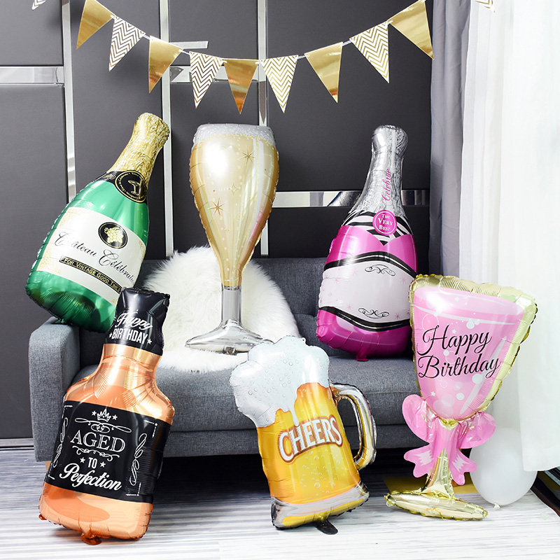 Large Champagne Glass, Wine Bottle, Aluminum Foil Balloon, Various Wedding, Birthday, Graduation Party Decorations