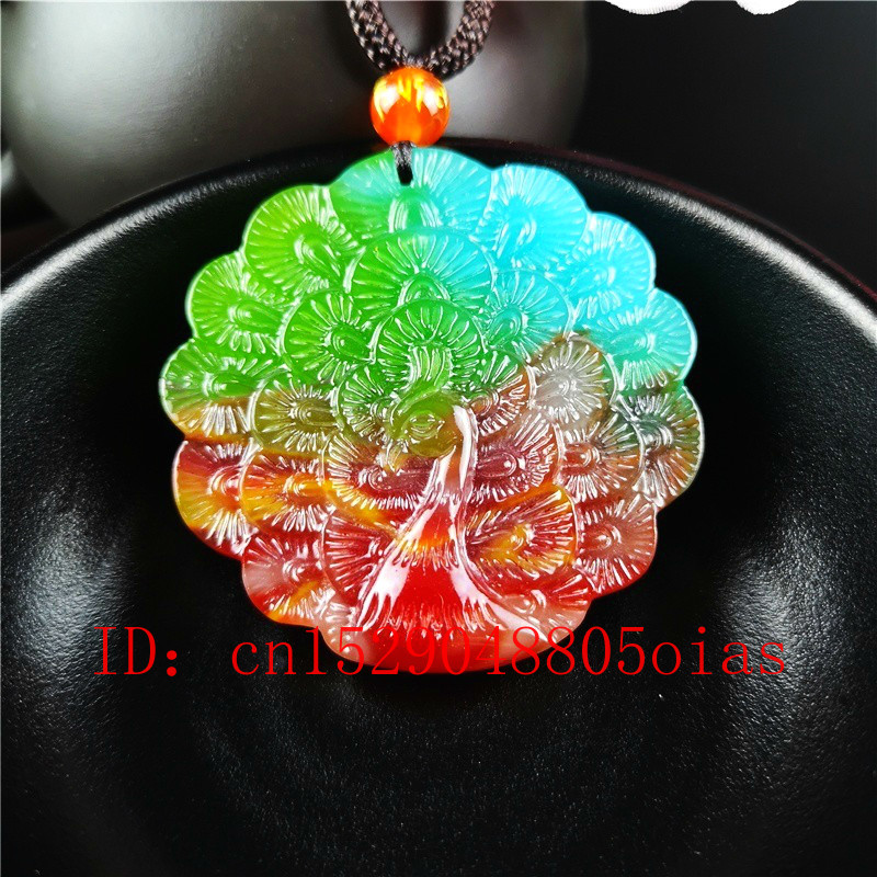 Certified Natural Color Hetian Stone Peacock Carved Jade Pendant Necklace Chinese Jadeite Jewelry Charm Amulet Gifts For Women
