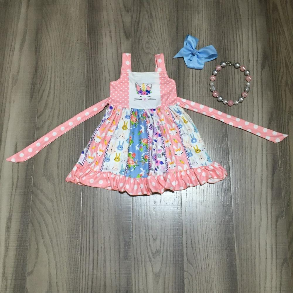 Baby Girls Easter Dress Girls Slip Dress With Bunny Print Girls Twirl Dress Girls Pink Dress With Accessories