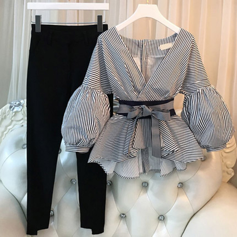 Plus Size Casual Women Lantern Sleeve Shirts 2 Pieces Sets Elegant Ladies Striped Pants Suit New Tops And Split Pencil Pant Suit