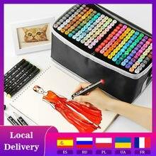 Rotulador de Arte de doble cabeza, Set de 36/80/168/262 colores, rotuladores a base de Alcohol con punta oleosa para bocetos artísticos, suministros de arte escolar para Manga