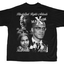 Camisa preta dos líderes dos direitos civis mlk malcom x rosa parques john lewis t manga curta unisex preto estilo vintage t