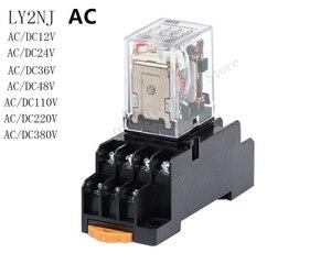 AC 1 Комплект Высокое качество AC 12 в 24 в 36 в 48 в 110 В 220 В 380 В катушка реле мощности LY2NJ DPDT 8 Pin HH62P JQX-13F с гнездом