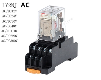 цена на AC 1Set High-quality  AC 12V 24V 36V 48V 110V 220V 380V Coil Power Relay LY2NJ DPDT 8 Pin HH62P JQX-13F With Socket Base
