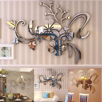 3D Mirror Floral Art Removable Wall Sticker Acrylic Mural Decal Home Room Decor Wall Sticker Flower gold silver Fashion 40*60cm