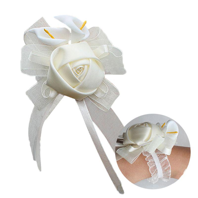 Wedding Bride Bridesmaid Calla Lily Hand Wrist Flower Artificial Rose Ribbon Corsage Adjustable Lace Bracelets Engagement Decor