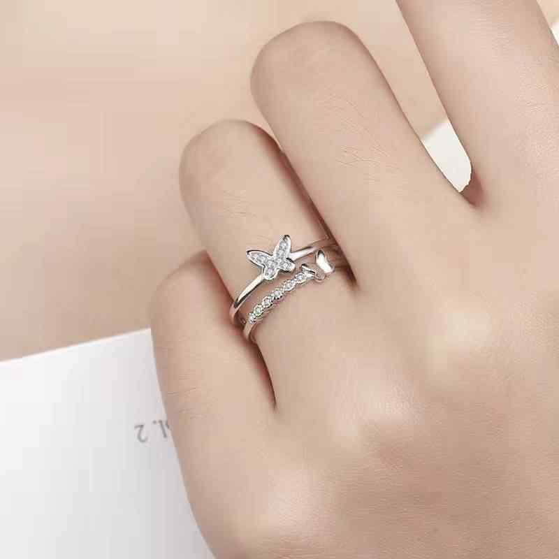 패션 925 스털링 실버 더블 나비 크리스탈 지르콘 반지 조정 가능한 오픈 반지 여자 선물 진술 쥬얼리