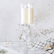 Nordic Glass Candle Holder with Cover for Tealight Candlestick Home Decoration Crystal Pillar Candle Stand Wedding Candelabra