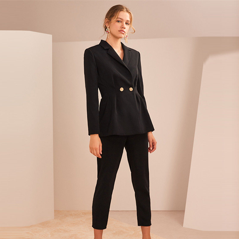 Women Suits Office Sets Stylish Ladies Business Formal Work Wear OL 2 Piece Notched Blazer Jacket Trousers Spring Pants Suits