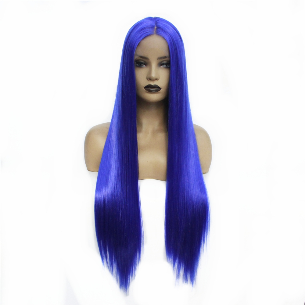 """Glueless Long straight Heat Resistant 24"""" Blue Synthetic Lace Front Wig Middle Part Cosplay Party Wigs For Women 150% Density"""