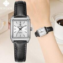 WWOOR Luxury Brand Rectangular Hand Clock Black Leather Women Quartz br