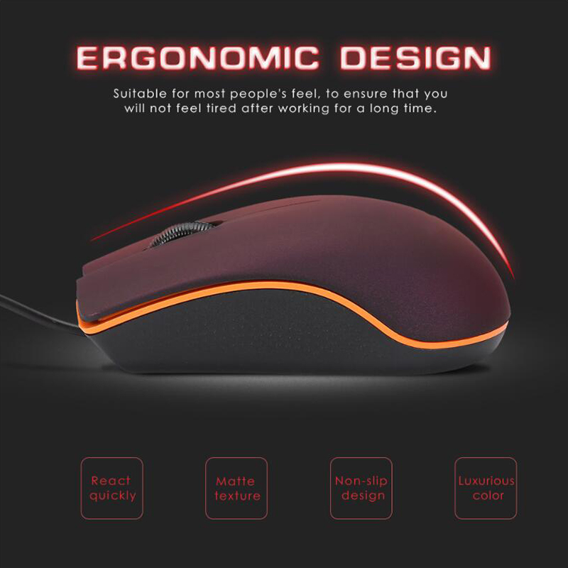 Mini USB Wired Gaming Computer Mouse 1200DPI USB 2.0 Optical Mice Frosted Surface For Computer Overwatch Pubg Dota 2